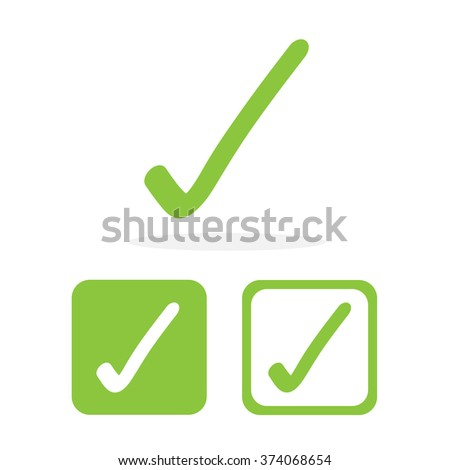 Green web button with check mark sign Vector EPS10, Great for any use - stock vector