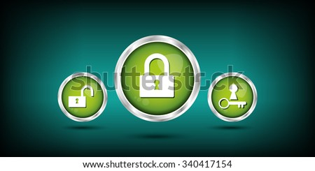 green web buttons. lock and key button. - stock vector