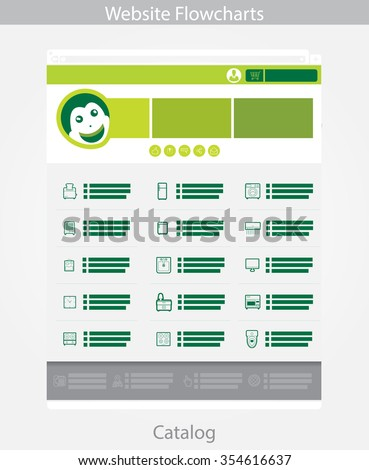 Green Web template simple vector: Catalog Page