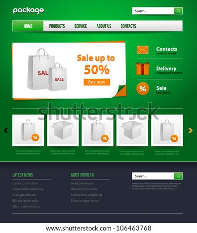 green website design store template for your business. Gift, package - stock vector