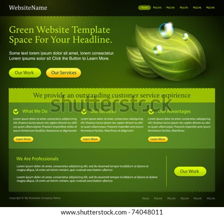 green website editable template - stock vector