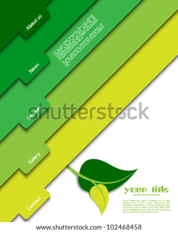 green website template - stock vector