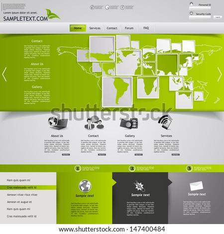 Green website template - stock vector
