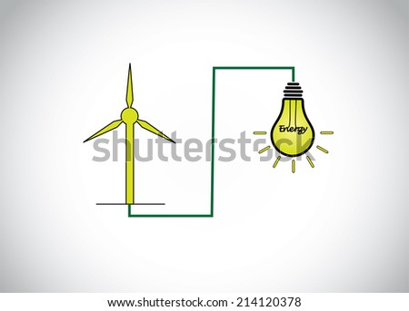 green wind mill turbine generating power energy & glowing yellow light bulb. natural renewable energy production using wind mills simple concept illustration design art - stock vector