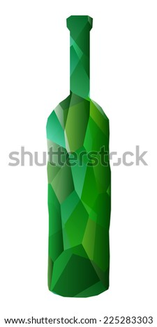 Green wine bottle faceted illustration. Large polygons.