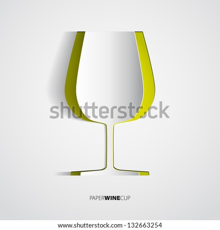 Green wine cup from paper - vector illustration - stock vector