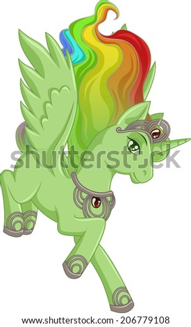 Green winged unicorn with rainbow mane is jumping