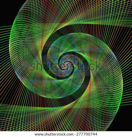 Green wired fractal spiral design background - stock vector