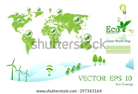 Green Wold map,plant in lamp, Eco concept,eco icon,eco logo,Green Earth Map,Green concepts save energy - stock vector
