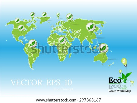 Green Wold map,plant in lamp, Eco concept,eco icon,eco logo,Green Earth Map,Green concepts save energy