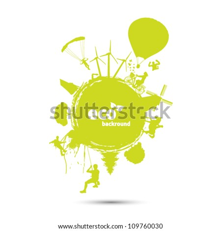 Green world background with eco life - stock vector