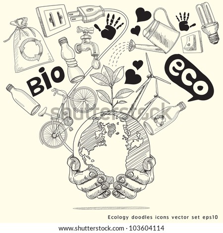 Green world concept. Tree on the earth in hands . Ecology doodles icons vector set - stock vector