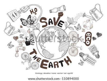 Green world drawing concept. Save the earth. Ecology doodles icons vector set. jpg version also available - stock vector