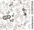 Green world drawing Save the earth concept. Ecology doodles icons vector seamless. - stock photo