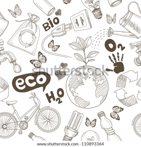 Green world drawing Save the earth concept. Ecology doodles icons vector seamless. - stock vector