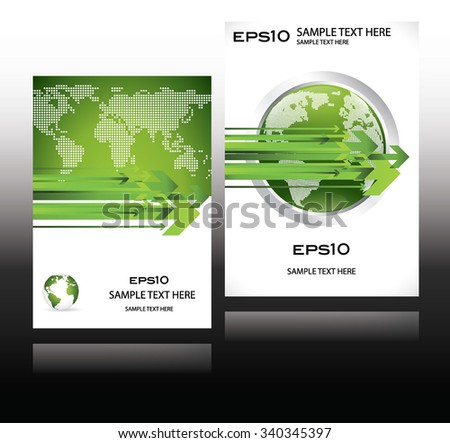 green world globe business design magazine cover with planet earth map