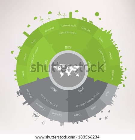 Green world infographics concept  - stock vector