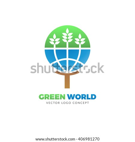 Green World logo concept. The design is suitable for all ecology related businesses, innovative materials and technologies, water, fresh food and nature. Leaves and globe Eco icon. - stock vector