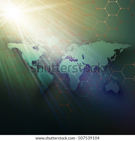 Green world map, connecting lines and dots on dark color background. Chemistry pattern, hexagonal molecule structure, medical research. Medicine, technology concept. Abstract design vector decoration.