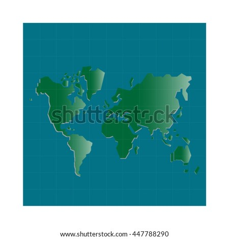 Green World Map Illustration - stock vector