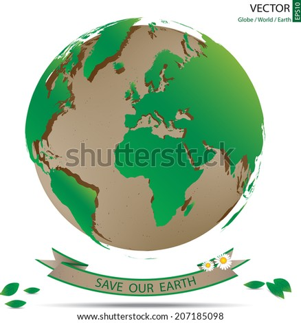 green world map overlay on recycle paper globe with banner of love our earth, 3d vector illustration