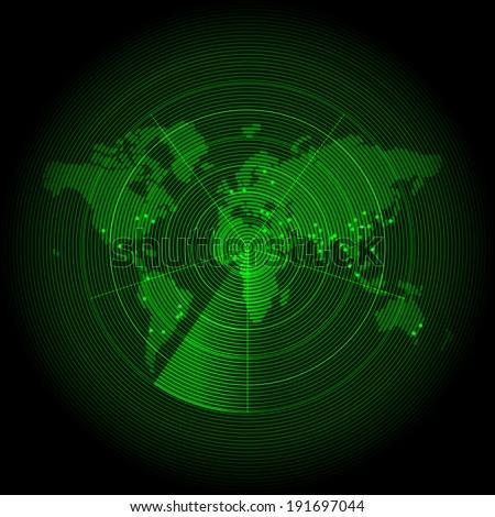 Green world map with a radar screen - stock vector