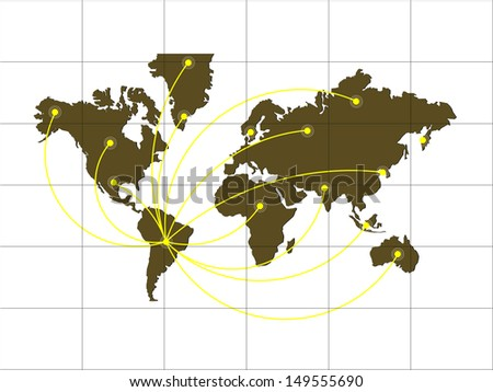 Green World map with infographic connection concept - stock vector