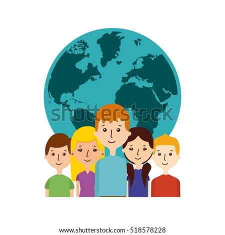 green world map with women and men with communication bubbles over white background. vector illustration