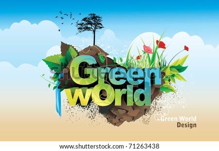 green world vector - stock vector
