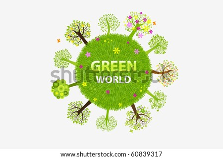 Green World  With Trees, Isolated On White Background, Vector Illustration - stock vector