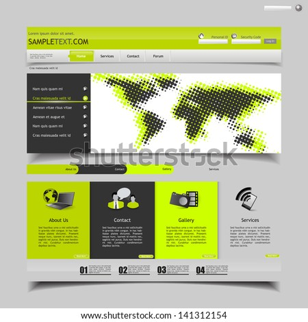 green/yellow and grey business website template - with halftone map  - stock vector