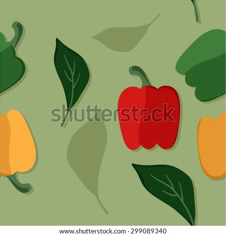 Green, yellow and red pepper vector seamless background - stock vector