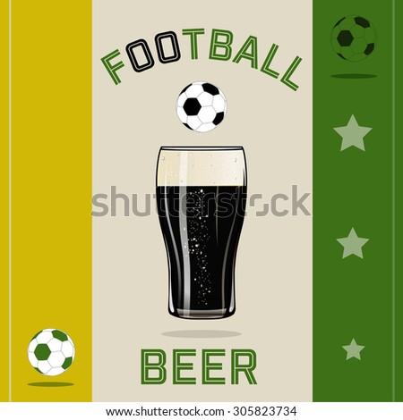Green yellow beer football - stock vector