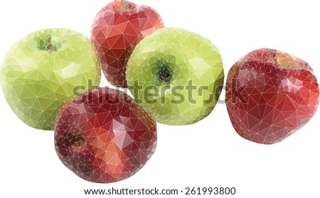 green yellow red apples with triangles - stock vector