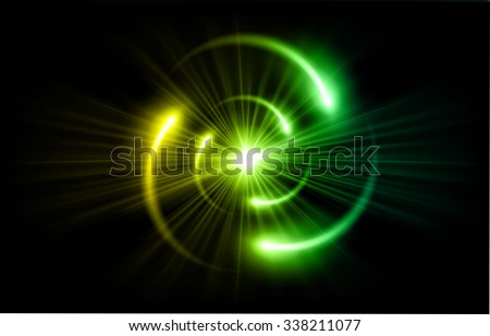 green yellow Shining atom scheme. Vector illustration. dark background. digital. infographics. Abstract Technology background for computer graphic website internet and business. circuit.