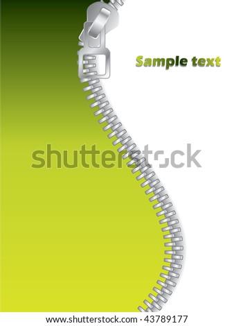 Green Zippered - stock vector
