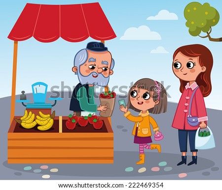 Greengrocer and a girl - stock vector