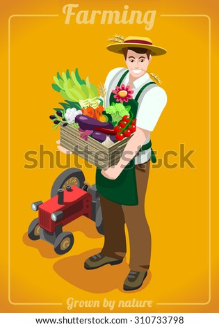 Greengrocer Farmer Fresh Food Agriculture logo Company Grocery Careers People  Isometric Realistic Poses 3D Flat Vector Icon Set. Farming Department JPEG JPG EPS 10 Image AI Object Picture Graphic Art - stock vector