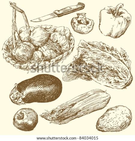 greengrocery-hand drawn set - stock vector