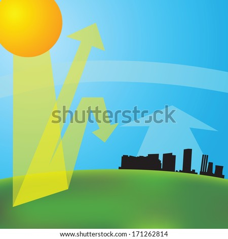 greenhouse effect (vector illustration). Global warming. - stock vector