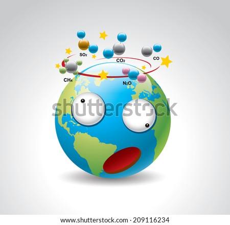 Greenhouse gas harm earth - stock vector