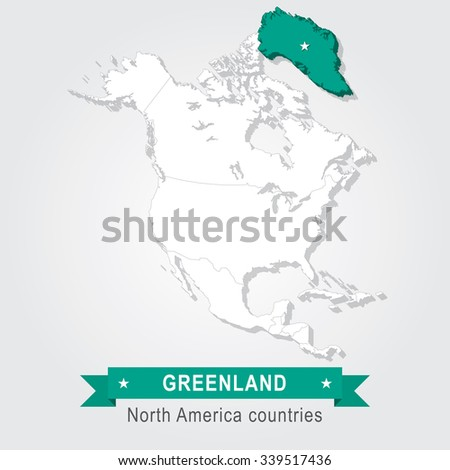 Greenland All Countries North America Stock Vector - How many countries in north america