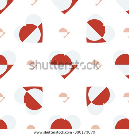 Greenland flag heart seamless pattern. Patriotic Greenland flag background. Country flag in the shape of heart. Vector seamless pattern. - stock vector