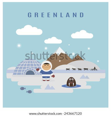 Greenland landscape - stock vector