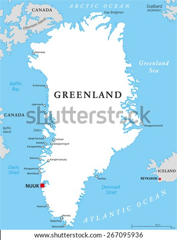 Greenland Political Map Capital Nuuk Important Stock Vector