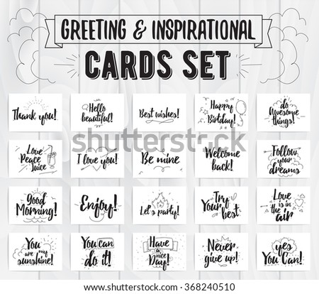 Greeting and inspirational cards set. Typographic vector design. Calligraphical quotes, wishes, greetings. Hand drawn elements. Useable as photo overlay. - stock vector