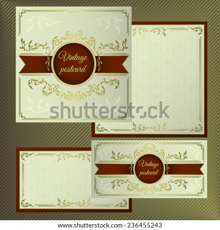 Greeting and invitation cards. Cover with vintage gold pattern on a light background, and with the inner side for text.