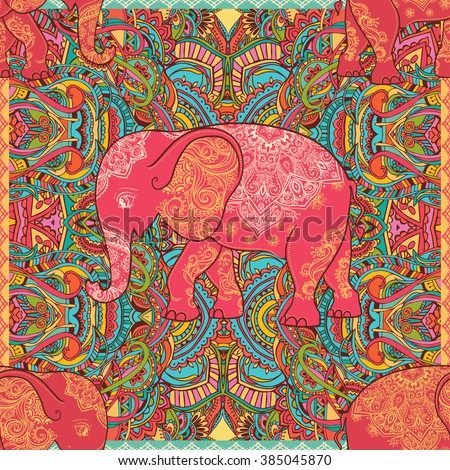 Greeting Beautiful card with Elephant. Elephant Illustration for design, pattern, textiles. Hand drawn map with Elephant. Use for children's clothes, pajamas, web sites pattern extile print texture - stock vector