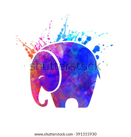 Greeting Beautiful card with Elephant. Frame of animal made in vector Elephant Illustration for design pattern textiles Hand drawn map with Elephant Bright print on t-shirt cup canvas and other object - stock vector
