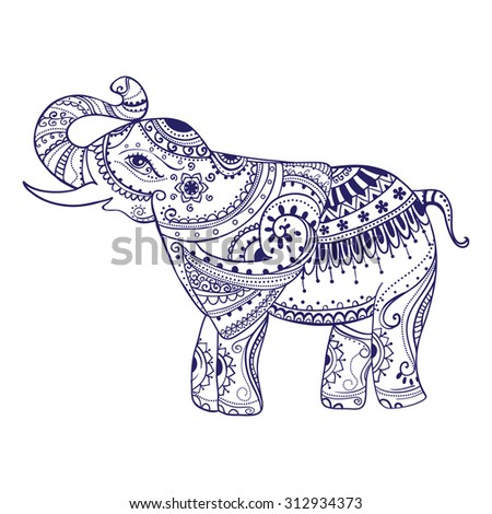 Greeting Beautiful card with Elephant. Frame of animal made in vector. Seamless hand drawn map with Elephant.